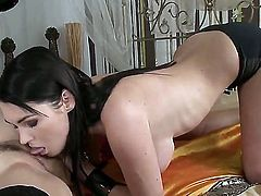 Brunette Valentina Nappi doing wild things with Antonya in lesbian action