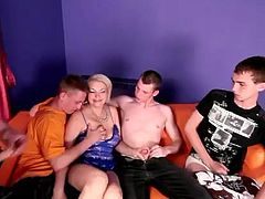 Check this hardcore video out where a cock loving blonde mature gets nailed by more than three cocks in a gangbang scene.