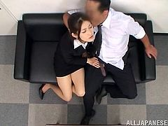 Our cutie is willingly to do everything as long as it pleases her boss. She's a bit tired only that the boss has the perfect energizer for her, his dick. She massages the guy's hard cock and then puts it in her mouth. Damn what a cute Nippon girl, she deserves the title of employee of the month and some cum