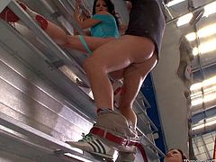 Omar Galanti enjoys in making threesome with two arousing babes, Niki Sweet and Eva Tores, and bangs their shaved tacos and tight ass holes while climbing in the room
