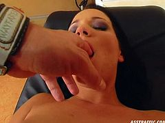 Raunchy black haired babe takes pink anal plug up her tight asshole. She greedily licks that sex toy and gets her booty hole finger fucked.