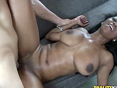 Reality Kings sex clip provides you with awesome busy black gal. Sexy ebony chick with huge boobs is fond of mish and tough poking of her wet cunt from behind. Dirty-minded appetizing chick with smooth like silk ass is surely a futuristic lover, who can please a man in a flash.