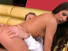 Brunette Nessa Shine cant get enough and takes dick in her many times used snatch again