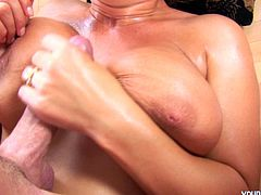 Bald headed dude does his best to please the voracious curvy blond filth. Kinky girlie with flossy ass and sweet boobs desires to feel a deep and tough penetration of the tool into her vagina. Amazing chick is a great pro in giving a solid blowjob for sperm. Just don't waste time. Press play and enjoy Young Busty sex clip right here and now.