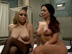 Kirsten Price gets her tits tortured with clothespins. After that she gets tied up and toyed in both holes by blonde Aiden Starr.