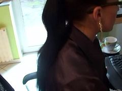 Cute brunette secretary does her office work and gets molested by her cocky boss. So bitch fills her mouth with his big dick and gets her black pantyhose ripped up.