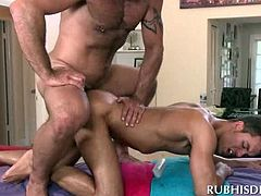 Nasty gay masseur rimming and butt fucking his horny client