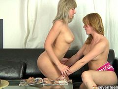 Taking it slow, these two lesbians strip off their tops, alluring each other. Equally lusting for each other, they squeeze and fondle their firm, cute breasts. Then hungry for more, they lick and suck their nipples, delighting in the soft, creamy mounds.