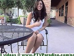 Madeline cute brunette woman public flashing tits and ass and pussy