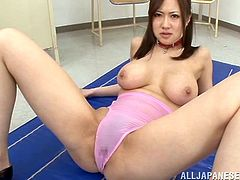 What a luxury babe Sayuki Kanno is! Babe gets her swimsuit off her twat and that cock pins it deep. Girl needs to shave her cunt some day!