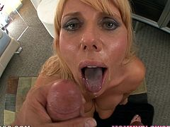 A fucking hot bitch with hot titties sucks on a big-ass dick gives the fucker some titty fuck too and it all ends in sweet cum swallowing action!