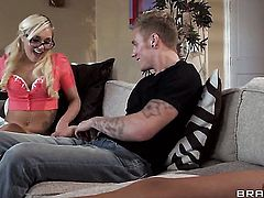 Latina with massive hooters gets a mouthful of man meat in blowjob action with Cody Sky