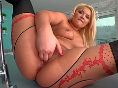 Lana is s curvy blonde babe with big sexy booty and nice meaty pussy. Delicious babe in crotchless pantyhose shows off her hot body and then fist fucks her vagina for the camera.