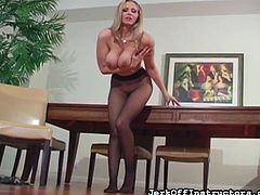 Insolent blonde loves posing her pussy through the pantyhose in sexy solo