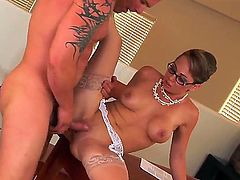 Holly West has dick-hungry beaver and takes care about dudes erection