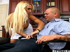 Hot blonde chick with big boobs gives a titjob and a blowjob. Later on she gets fucked deep and hard by her colleague.