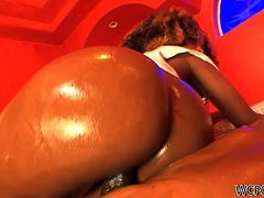 Raven Vixen is a curly haired ebony whore and she is extremely proud of her ass. She climbs on top of her lover and rides him hard like a cowgirl.