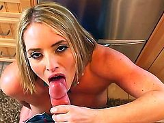 Gorgeous blonde milf Maggie sucks a huge pole and gets her sexual desires satisfied in the kitchen