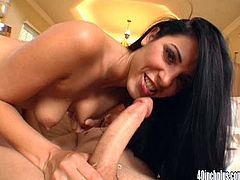 This gorgeous brunette will drive you crazy with her immense ass in this hardcore POV where she sucks and fucks a thick cock.