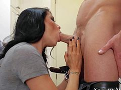 His wifes friend Romi Rain is s sexy dark haired woman that does laundry in their house. Leggy hot woman sucks his cock and then strips down to her lingerie to take his rod in her vagina behind the closed door of the laundry room.