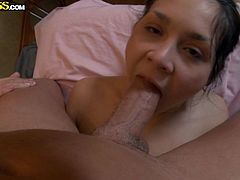 Shapely brunette sweetie takes huge cock up her soaking pussy doggystyle. Girl wants to taste that huge dick and starts choking on that thick lollicock.