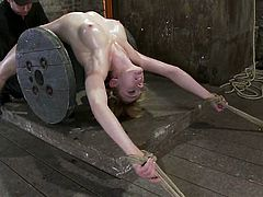 Ropes and one of those things used to keep cables untangled (don't know the name) are used to torture Lily Labeau.