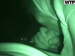 Amateur blonde girl Dasha with natural boobs gives lusty blowjob session to her naughty boyfriend with stiff dick while he films her in close up in night vision mode.