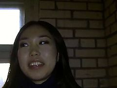 Sexy Asian beauty Yiki enjoys blowing a pole and getting her pink pussy banged in a pick up porn
