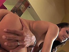 Sexy cock craving brunette Jenna blows a huge cock before getting her tight cunt banged hard