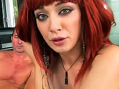 Whorish and slutty redhead babe with foxy figure Mai Bailey enjoys in taking on two hard rods on her knees in the arousing and hot threesome on the couch