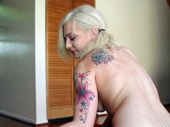 Bailey Blue is a pale skinned tattooed blonde with long legs and pink pussy. She inserts dildo deep in her asshole and then shows every inch of her lovely body on the bed.