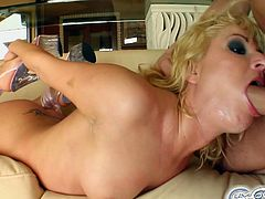 See how the cute and wild blonde slut Victoria sucks off four big rods of meat with her perversely skilled mouth. Then she's ready to get her face covered by a huge bukkake.
