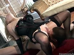 Nothing makes this busty blonde more happy than feeling her ass hole get smashed