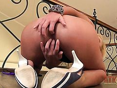 Blonde asian Ivana Sugar makes no secret of her muff pie and knockers