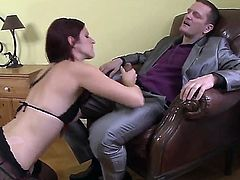 Ian Scott plays hide the salamy with in steamy anal action before she gives suck job