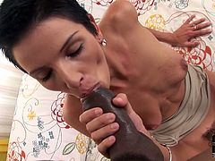 Short-haired bitch is fucking furiously in a hardcore interracial porn vid