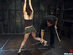 This delightful and smoking hot siren Amber Rayne is so damn amazing! She gets tied up and fucked so fucking rough! Hot BDSM sex to watch!
