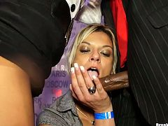 Sex greedy brunette and blond milfs party hard along with their horny colleagues. They rub their cuddly bodies over them before kneeling down to mouth fuck their sturdy cocks in sultry group sex video by Tainster.