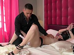 Cock craving insatiable brunette hoe meets her fucked at the hotel room almost naked. That cocky dude brutally finger fucks her tight pink dripping wet pussy.