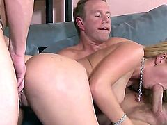 Arresting blonde babe Kodi Gamble fucking with her new stepdaddy and his co-worker