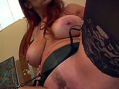 One of a kind tanned long haired redhead cougar Tiffany Mynx with big jaw dropping knockers in stockings gets her minge licked good by Jack Vegas in provocative positions.