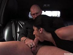 She was offered a lot of money for this. She gives a nice blowjob in the car and as they reach to his secret place, babe gets abused!