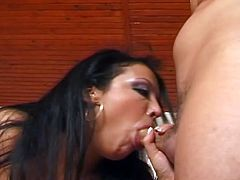 See a naughty and intense German brunette giving her man a hell of a blowjob while flaunting her hot body. Then she's ready to get banged balls deep into a massive explosion of pleasure.