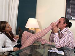 Stunning Satin Bloom amazes with her feet during pantyhose fetish porn scene