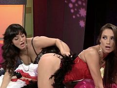 Two palatable sexy lesbians with rounded asses enjoy eating each other