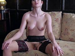 Fawna Latrisch is a beautiful elegant brunette in stockings. She demonstrates her natural tits and rubs her hairy pussy gently with her fingers in a playful manner. Fawna Latrisch loves doing it for cam.