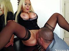 Nikki Benz is his wifes smoking hot friend. Blonde with massive melons turns him on. Elegant woman in black gets her massive hooters banged before she gets her wet pink pussy pounded.