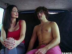 Black haired pretty Aletta Ocean with gigantic jaw dropping tits and smoking hot body in provocative outfit gets naughty in bang bus and gives head to slim dude in close up