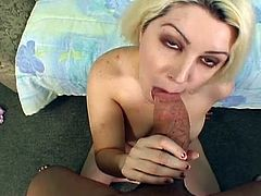 Watch this hot BBW blonde bith spreading her lips and showing her fat pussy on camera before getting hard fucked on the couch.She loves the deep hammering to her pussy.
