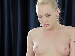 Sweet blonde loves pushing her toy deep down that tight vag in amazing solo